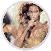 Beyonce 9 Round Beach Towel by Jani Heinonen