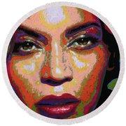 Beyonce Round Beach Towel by Maria Arango