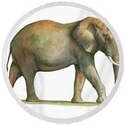 Big African Male Elephant Round Beach Towel by Juan Bosco