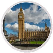Big Ben London Round Beach Towel by Adrian Evans