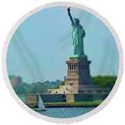 Big Statue, Little Boat Round Beach Towel by Sandy Taylor