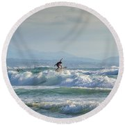 Round Beach Towel featuring the photograph Big Surf Invitational I by Thierry Bouriat