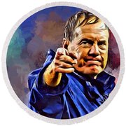 Bill Belichick Round Beach Towel by Scott Wallace