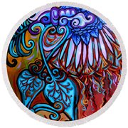 Bird Heart II Round Beach Towel by Genevieve Esson
