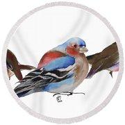 Birds Of A Feather Round Beach Towel by Nancy Moniz
