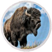 Bison Collection Round Beach Towel by Marvin Blaine