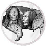 Bison Indian Montage 2 Round Beach Towel by Greg Joens