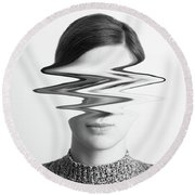 Black And White Abstract Woman Portrait Of Restlessness Concept Round Beach Towel by Radu Bercan