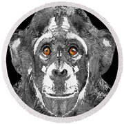 Black And White Art - Monkey Business 2 - By Sharon Cummings Round Beach Towel by Sharon Cummings