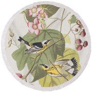 Black And Yellow Warblers Round Beach Towel by John James Audubon