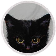 Black Kitten Round Beach Towel by Michael Creese