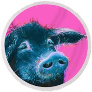 Black Pig Painting On Pink Background Round Beach Towel by Jan Matson