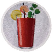 Bloody Mary Emoji Round Beach Towel by  Judy Bernier