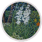 Blooming Yucca Round Beach Towel by Jim Rehlin