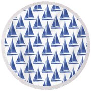 Blue And White Sailboats Pattern- Art By Linda Woods Round Beach Towel by Linda Woods