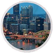 Blue Hour In Pittsburgh Round Beach Towel by Frozen in Time Fine Art Photography