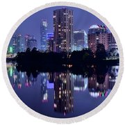 Blue Night Lights In Austin Round Beach Towel by Frozen in Time Fine Art Photography