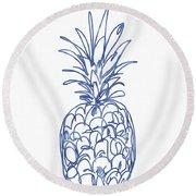 Blue Pineapple- Art By Linda Woods Round Beach Towel by Linda Woods