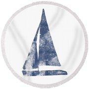 Blue Sail Boat- Art By Linda Woods Round Beach Towel by Linda Woods