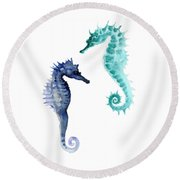 Blue Seahorses Watercolor Painting Round Beach Towel by Joanna Szmerdt