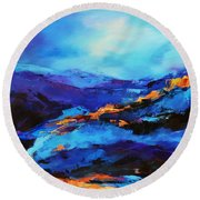 Blue Shades Round Beach Towel by Elise Palmigiani