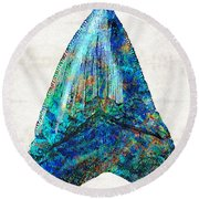 Blue Shark Tooth Art By Sharon Cummings Round Beach Towel by Sharon Cummings