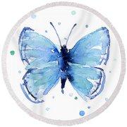 Blue Watercolor Butterfly Round Beach Towel by Olga Shvartsur