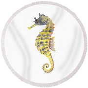Blue Yellow Seahorse - Vertical Round Beach Towel by Amy Kirkpatrick