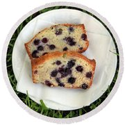 Blueberry Bread Round Beach Towel by Linda Woods