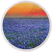 Bluebonnet Sunset Vista - Texas Landscape Round Beach Towel by Jon Holiday