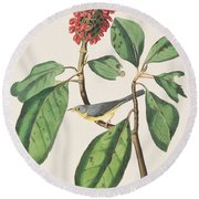 Bonaparte's Flycatcher Round Beach Towel by John James Audubon