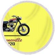 Bonneville T120 1962 Round Beach Towel by Mark Rogan