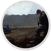 Round Beach Towel featuring the photograph Boots On The Ground by Travel Pics