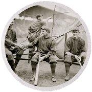 Boston Baseball Players   Gowdy, Tyler, Connolly Round Beach Towel by American School
