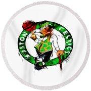 Boston Celtics 2b Round Beach Towel by Brian Reaves