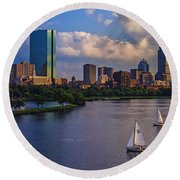 Boston Skyline Round Beach Towel by Rick Berk