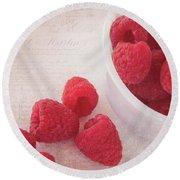 Bowl Of Red Raspberries Round Beach Towel by Cindi Ressler