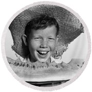 Boy Eating Watermelon, C.1940-50s Round Beach Towel by H. Armstrong Roberts/ClassicStock
