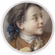 Boy With A Carrot, 1738 Round Beach Towel by Francois Boucher