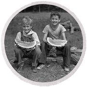Boys Eating Watermelons, C.1940s Round Beach Towel by H. Armstrong Roberts/ClassicStock