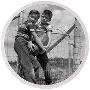 Boys Stealing A Watermelon, C.1950s Round Beach Towel by H. Armstrong Roberts/ClassicStock