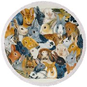 Bright Eyes Round Beach Towel by Pat Scott