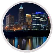 Bright Lights City Nights Round Beach Towel by Frozen in Time Fine Art Photography