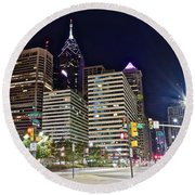 Bright Lights In Philly Round Beach Towel by Frozen in Time Fine Art Photography