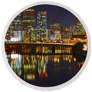 Bright Philly Night Round Beach Towel by Frozen in Time Fine Art Photography