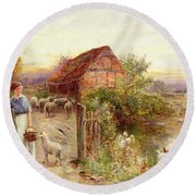 Bringing Home The Sheep Round Beach Towel by Ernest Walbourn