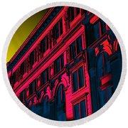Broadway 118 In Fuschia Round Beach Towel by Edgar Farrera