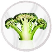 Broccoli Cutaway On White Round Beach Towel by Johan Swanepoel