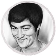 Bruce Lee Round Beach Towel by Greg Joens