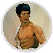 Bruce Lee Painting Round Beach Towel by Paul Meijering